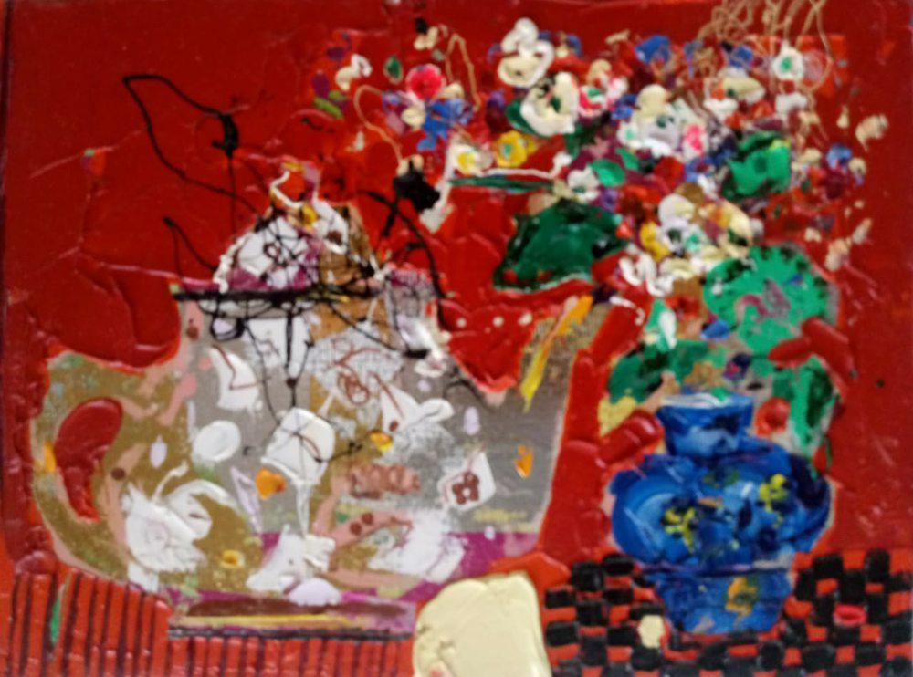 Oil painting on canvas - Tea drinking