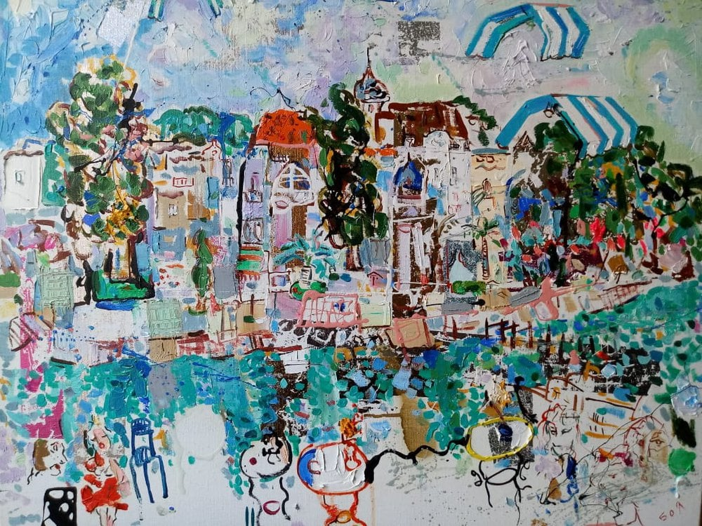 Oil painting on canvas ❀ Town