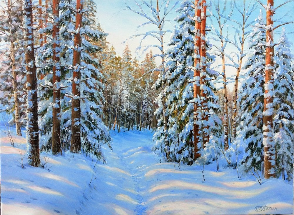 Oil painting on canvas ❀ Forest in January