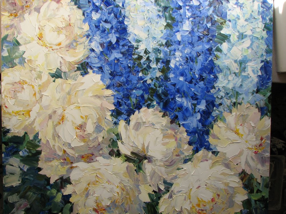Oil painting on canvas ❀ Peonies and Delphiniums