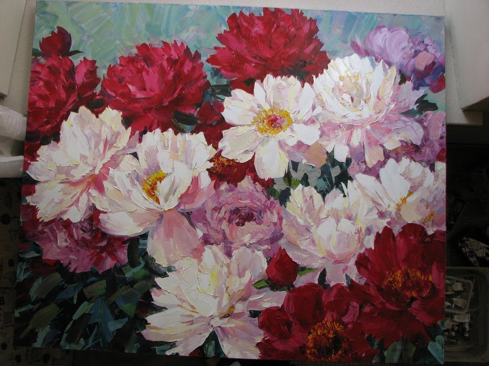 Oil painting on canvas - Red and white Peonies