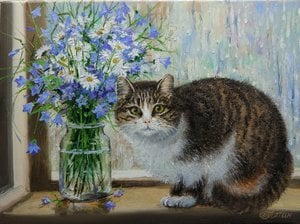 Painting - Cat on the window