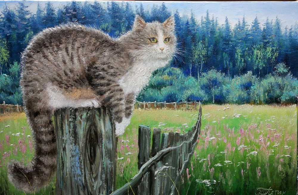 Oil painting on canvas ❀ Cat on the fence