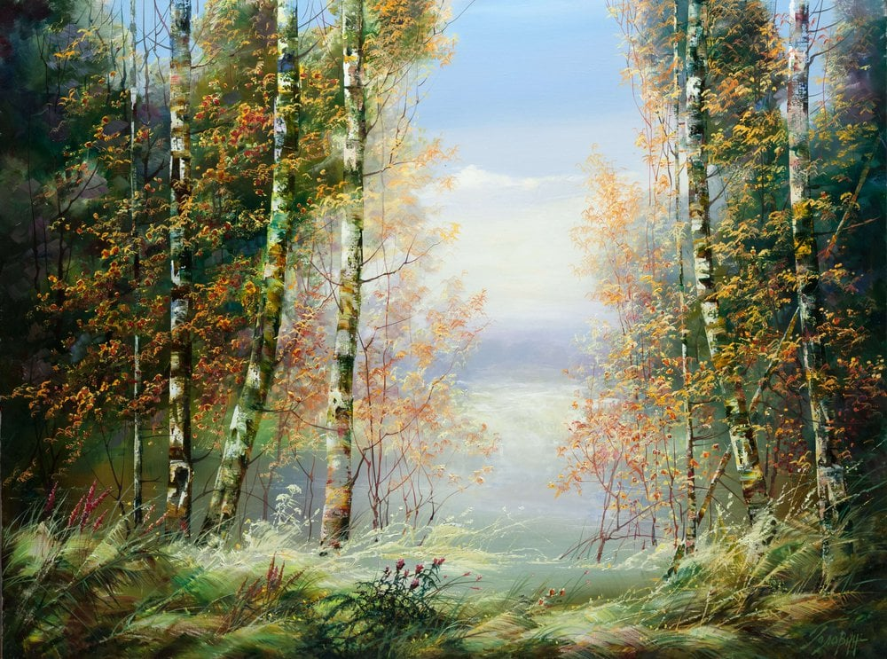 Oil painting on canvas - Birches