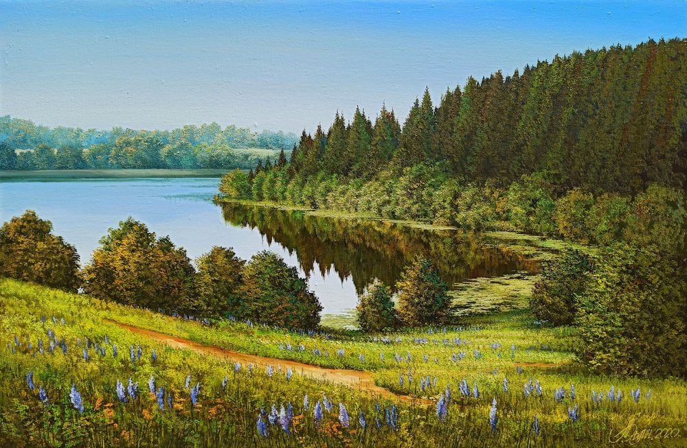 Oil painting on canvas - Riverbanks