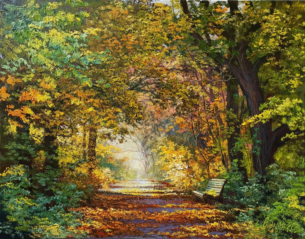 Oil painting on canvas - Walk in autumn
