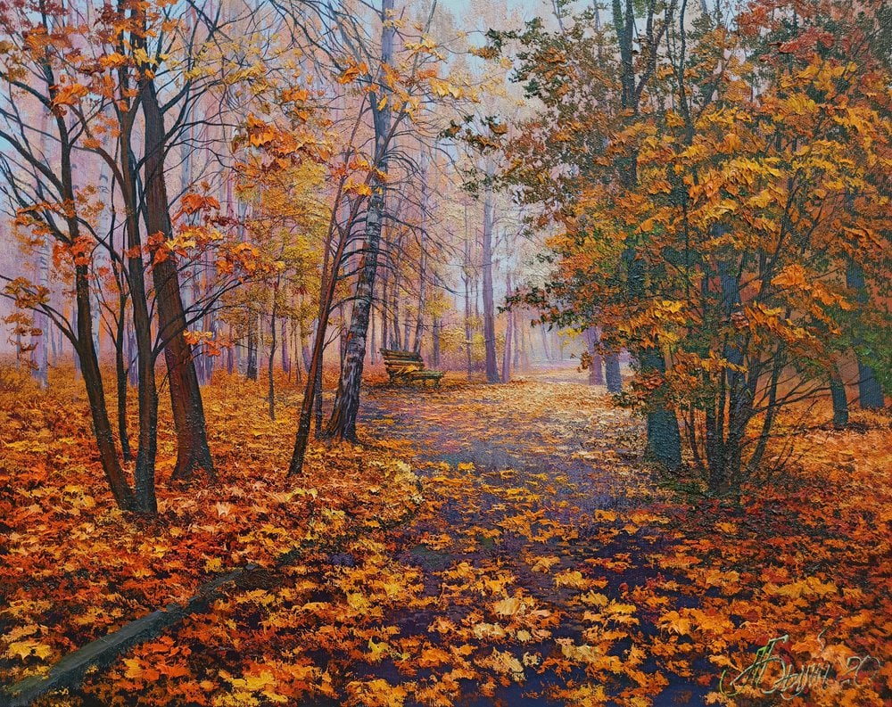 Oil painting on canvas - Fog in autumn