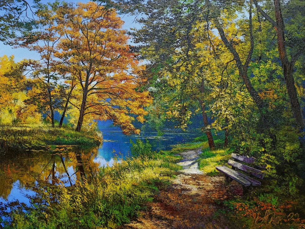 Oil painting on canvas ❀ Lake