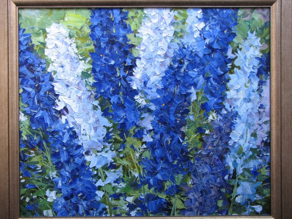Oil painting on canvas - Delphiniums