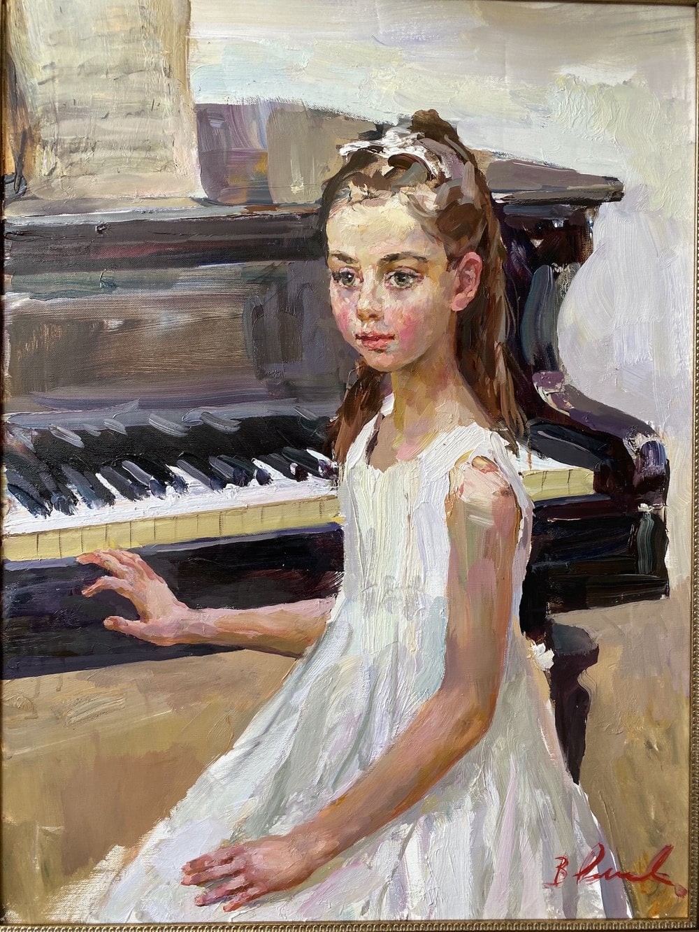 Oil painting on canvas ❀ Young pianist