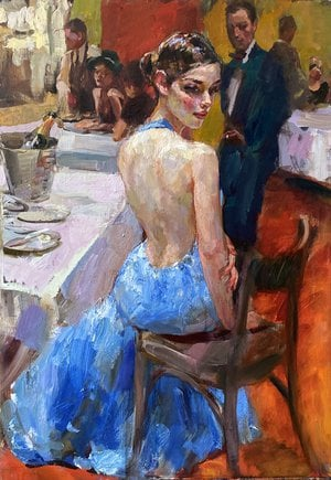 Painting -  Lady in blue