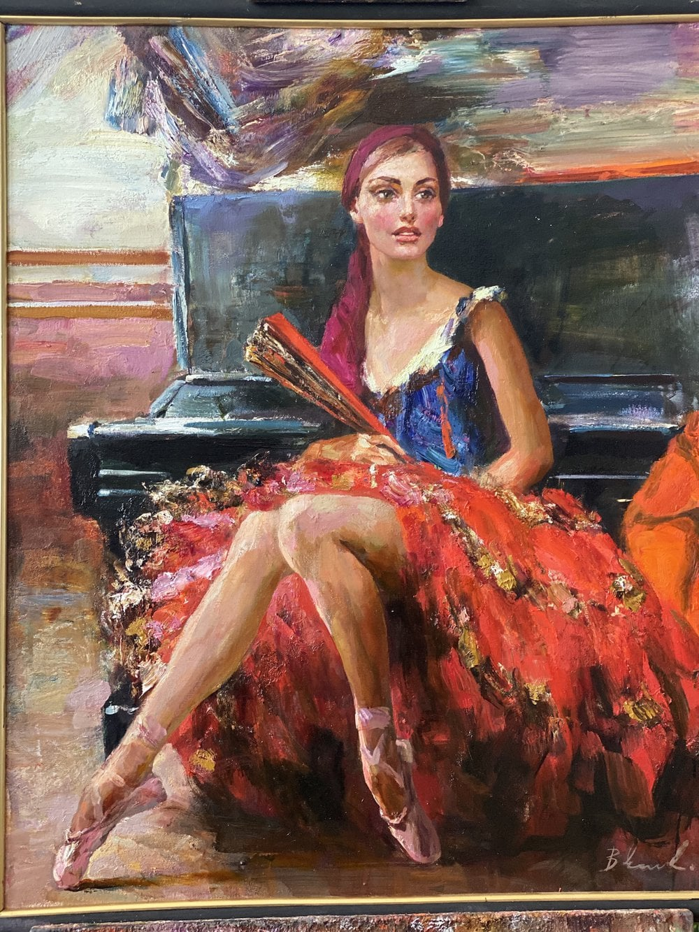 Oil painting on canvas - Dancer in red