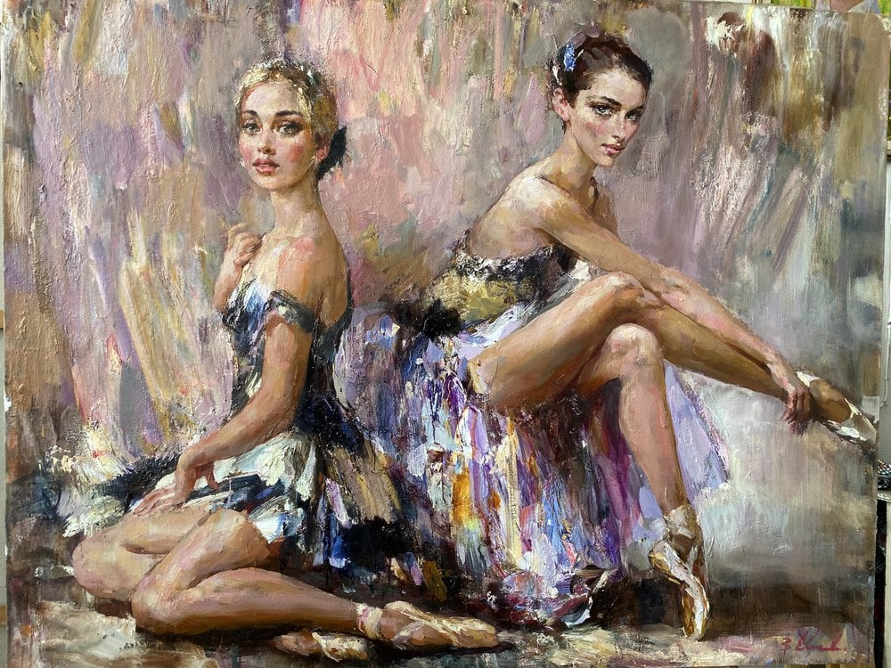 Oil painting on canvas - The chorus girls