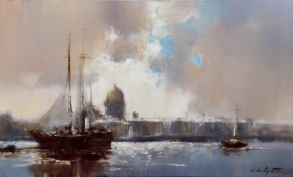 Oil painting on canvas ❀ Ships on the Neva