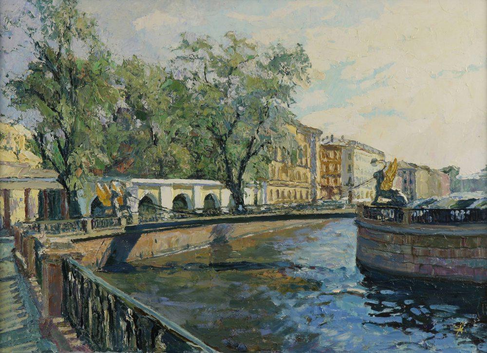 Oil painting on canvas ❀ Bankovskyi Bridge