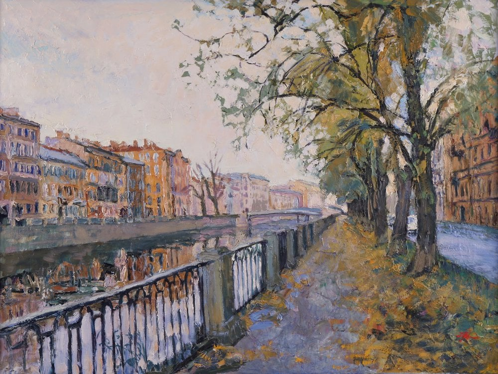 Oil painting on canvas - Ekaterininskay embankment