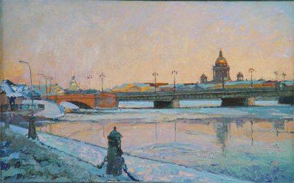 Oil painting on canvas - Blagoveshenskiy Bridge