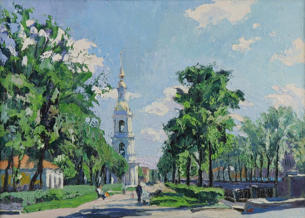 Oil painting on canvas - View of the Nikolsky bell tower