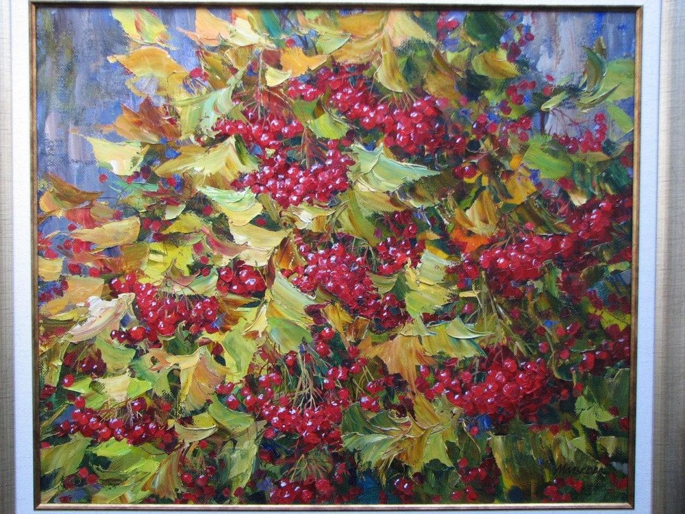 Oil painting on canvas - Viburnum