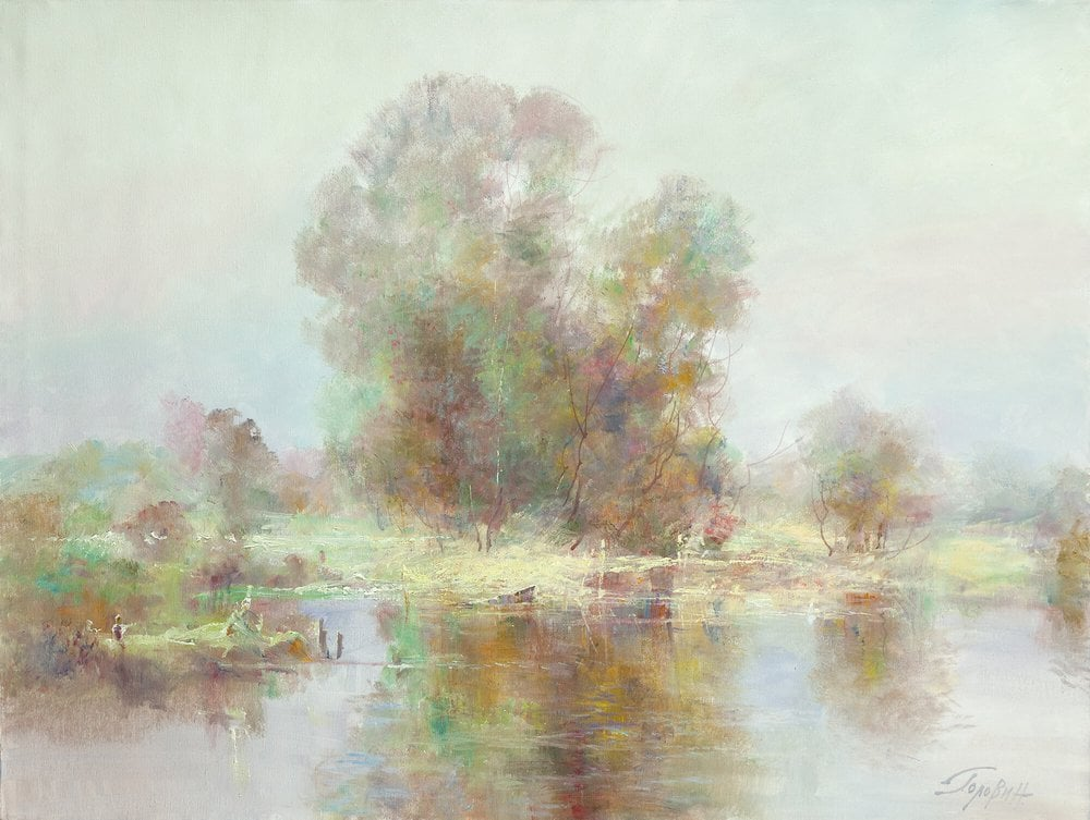 Oil painting on canvas - Near the River