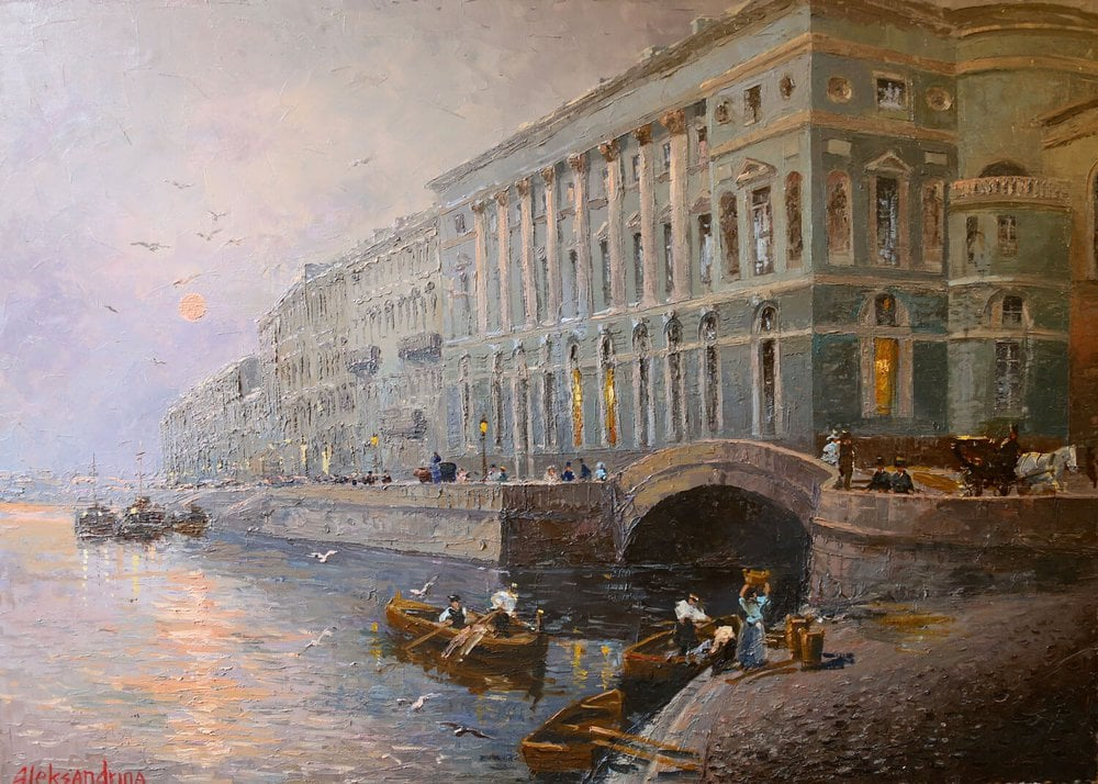 Oil painting on canvas - At the Winter Palace