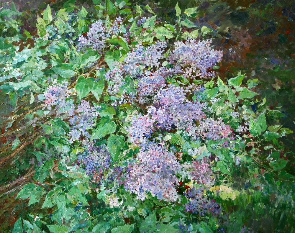 Oil painting on canvas ❀ Lilac bush