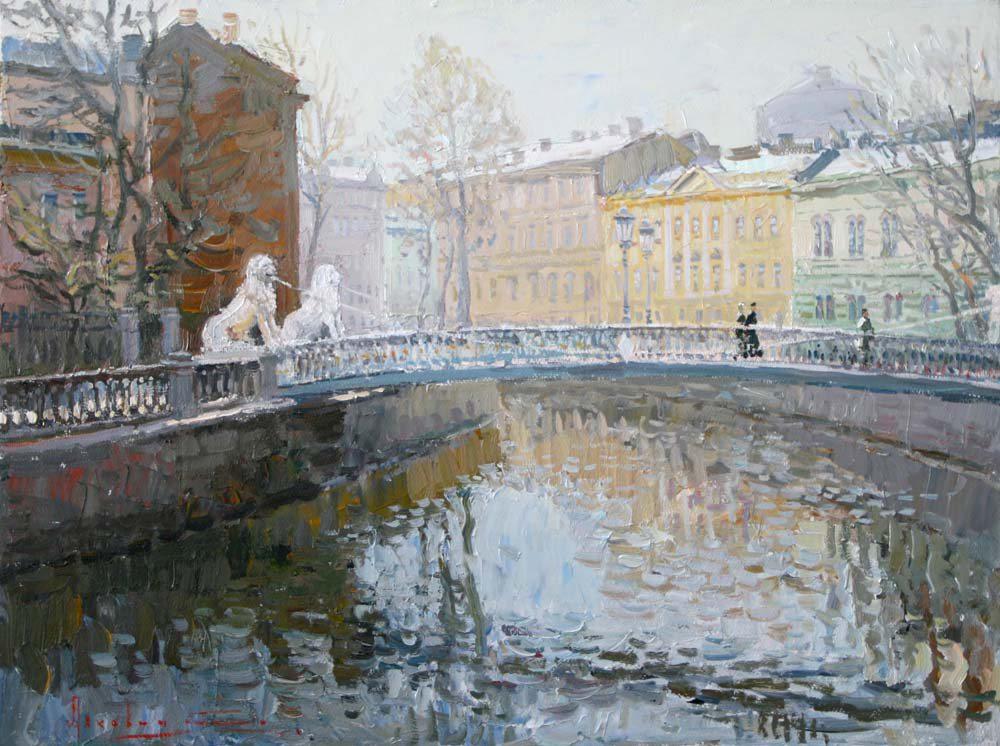 Oil painting on canvas ❀ Bridge of Four Lions