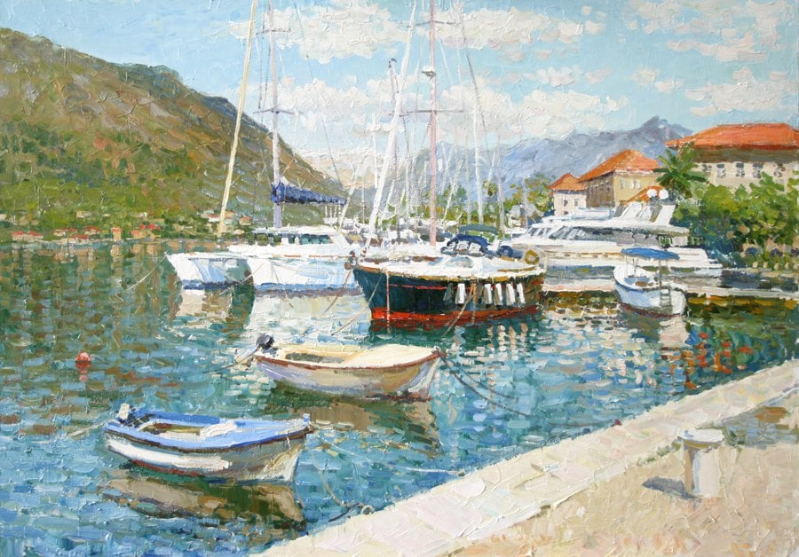 Oil painting on canvas ❀ Kotor embankment. Montenegro