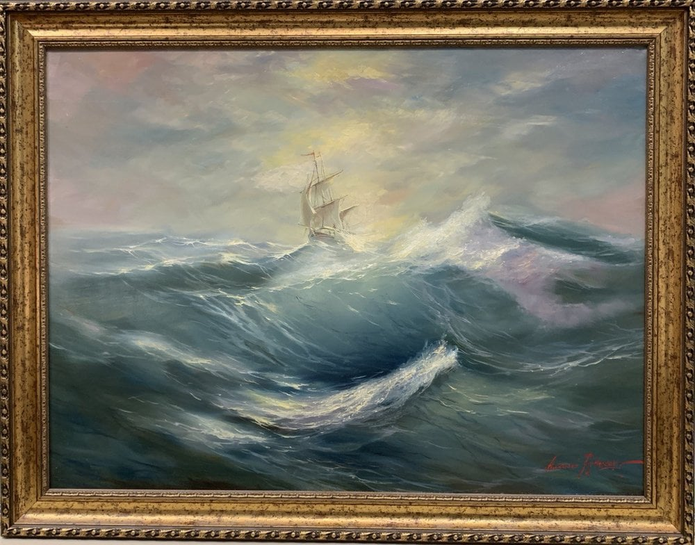 Oil painting on canvas ❀ On the crest of a wave