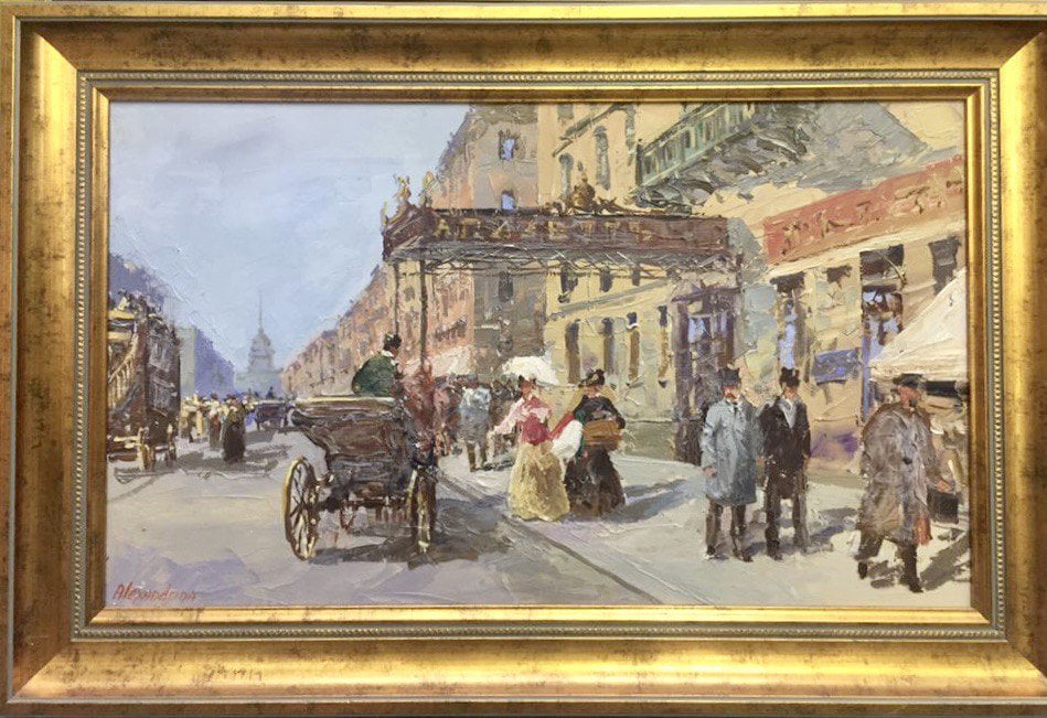 Картина маслом на холсте ❀ На оживлённой улице