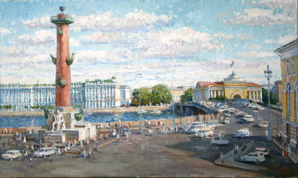 Oil painting on canvas ❀ Spit of Vasilyevsky Island