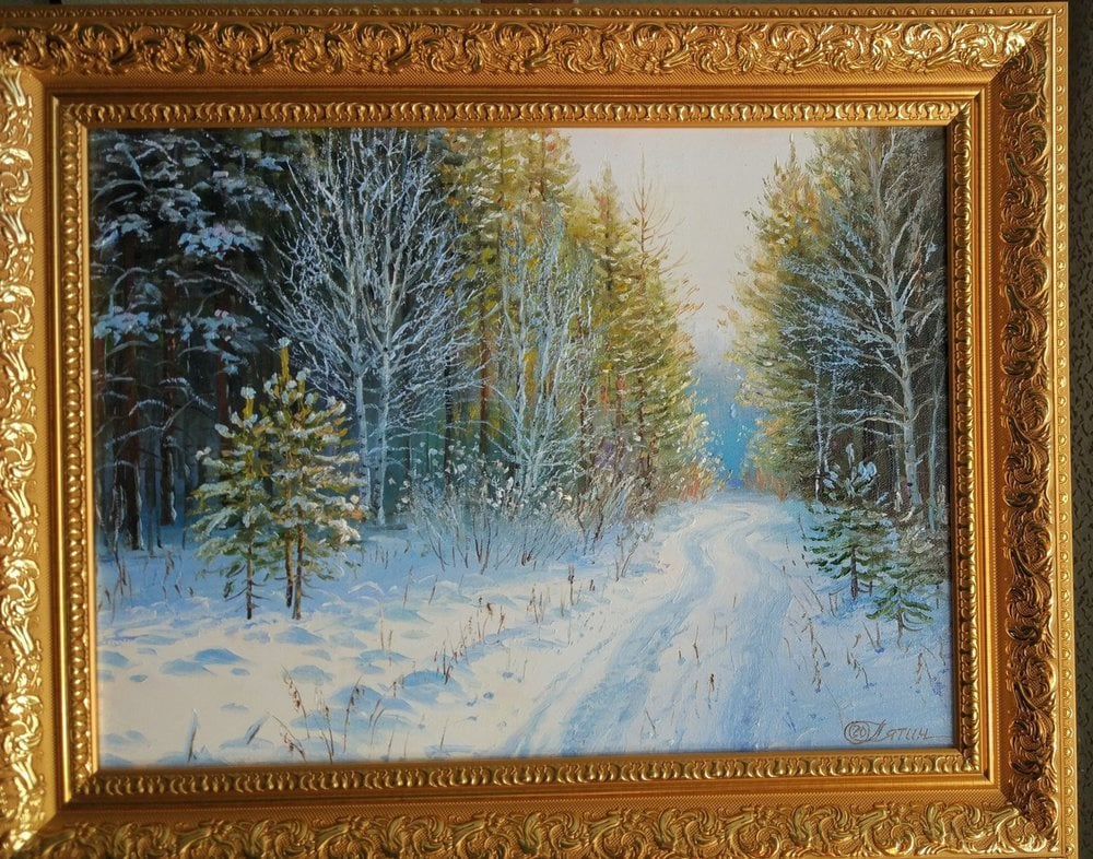 Oil painting on canvas ❀ Path in the winter forest