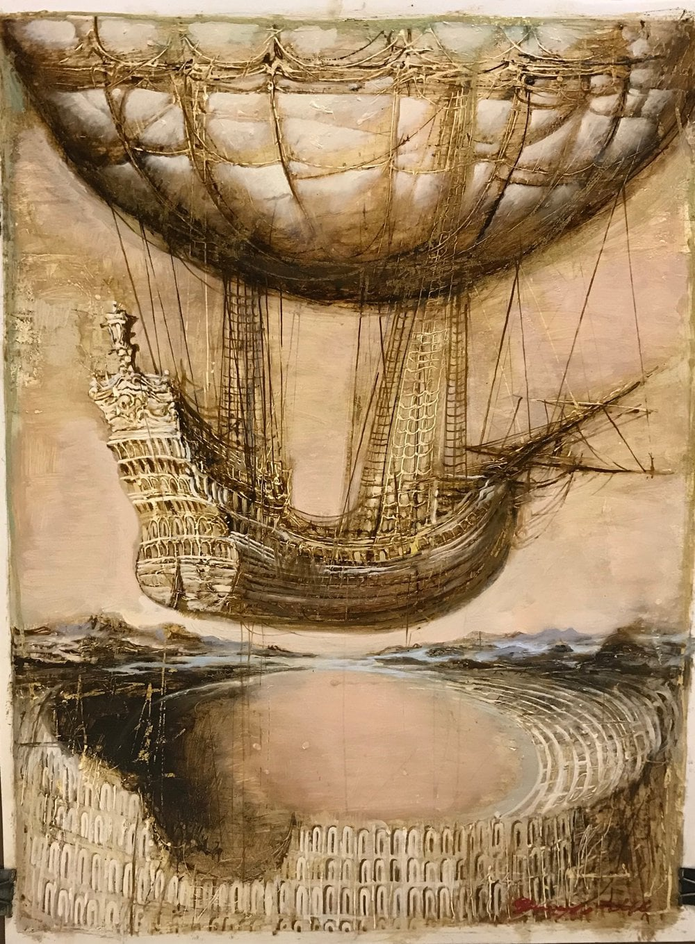 Graphic painting on canvas ❀ Airship