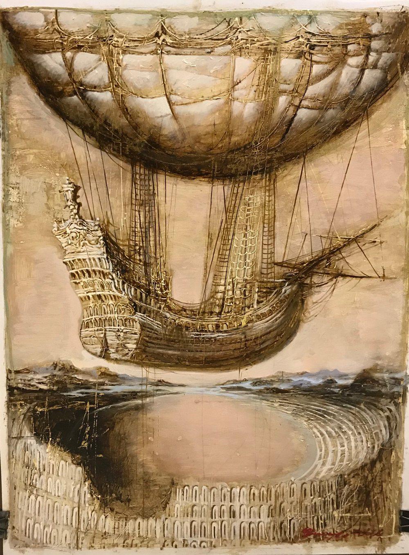 Графическая картина на холсте ❀ Воздушный корабль