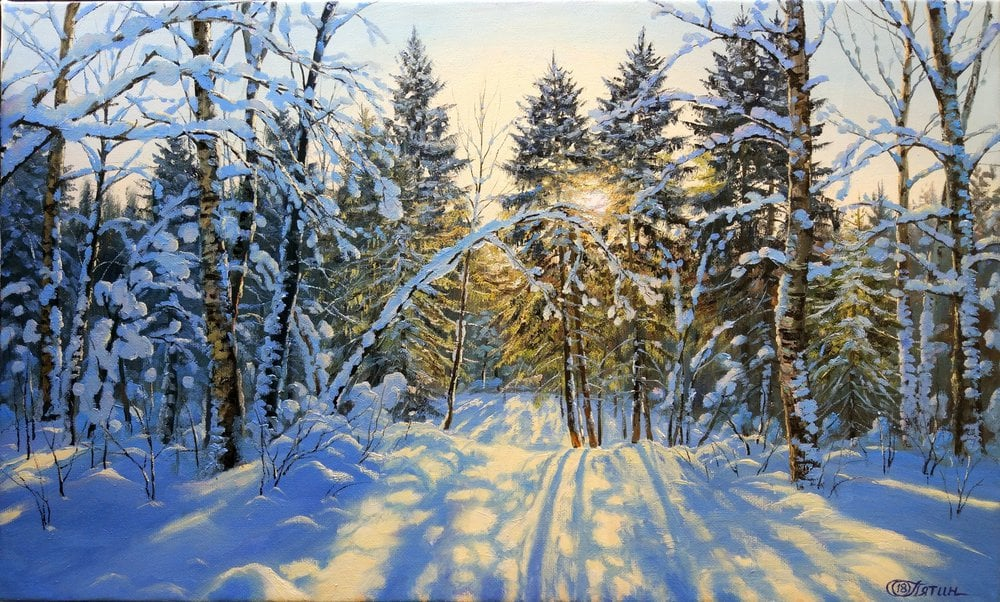 Oil painting on canvas ❀ Winter forest