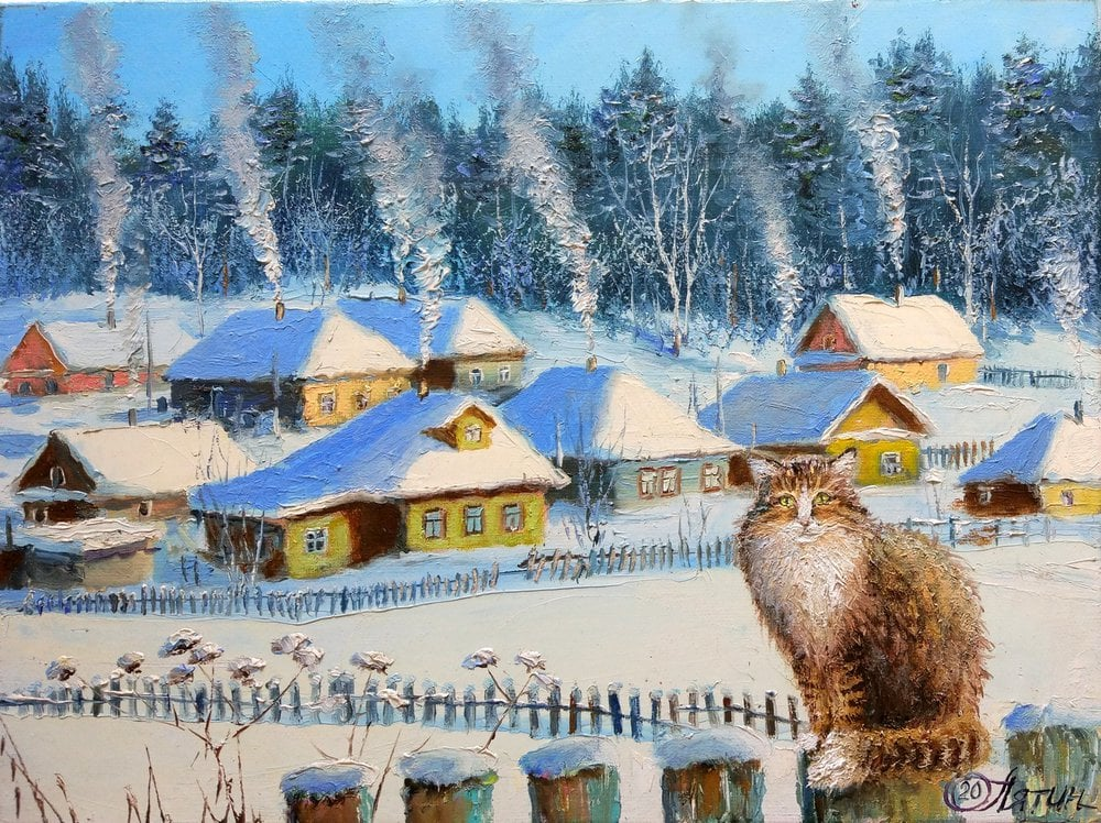 Oil painting on canvas ❀ Winter comfort